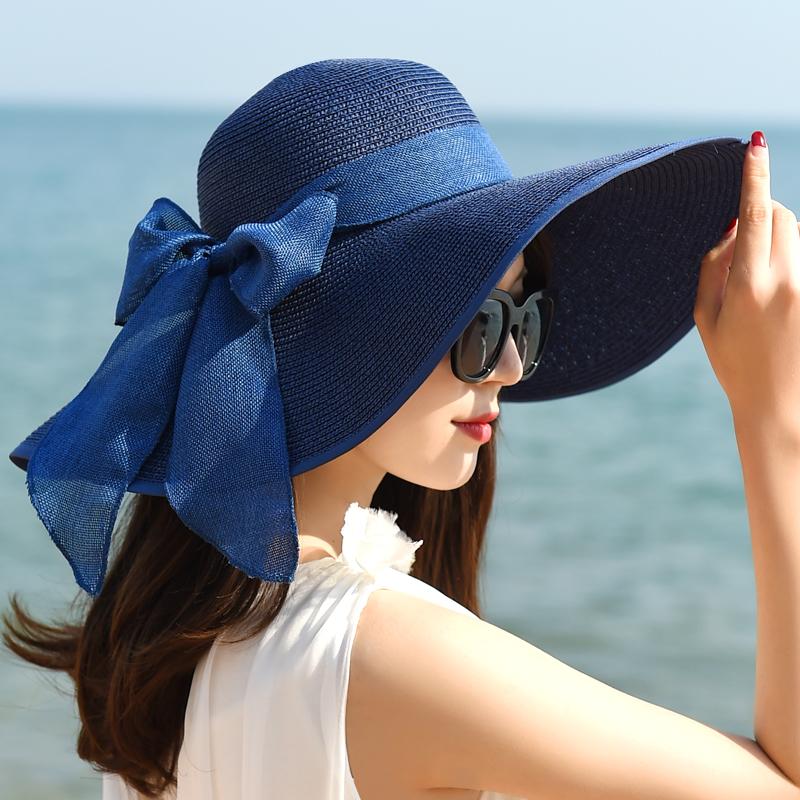 帽子女夏天沙灘海邊出游遮臉韓版百搭防曬大沿夏季太陽遮陽帽草帽
