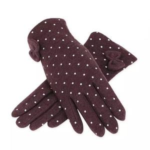 北纬35 秋冬羊毛手套 女 冬蝴蝶结简约时尚潮流柔软分指 羊绒手套