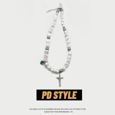 PDSTYLE不规则Clavicle Necklace珍珠项链男女镶钻绿宝石十字架潮