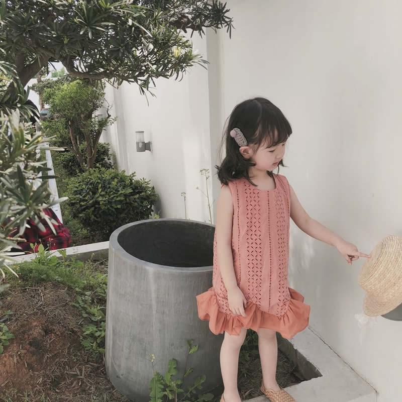 19夏季新款韓國童裝韓版女童連衣裙女寶寶繡花縷空魚尾裙復古裙子