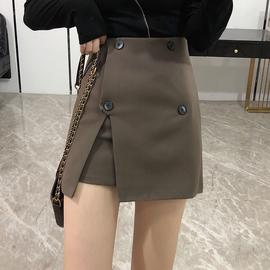 时尚高腰显瘦短裙女2020新款百搭A字包臀半身裙不规则开叉靴裙子图片