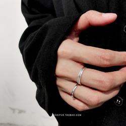 阿柴J39 INS简约文艺复古银饰S925银双层线条开口细线女戒指