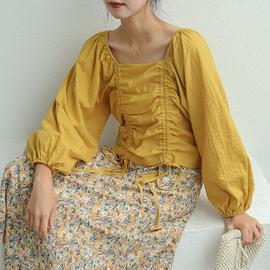 小草宽松定制洋气遮肚泡泡袖抽绳上衣女大码女装胖mm减龄韩版长袖图片