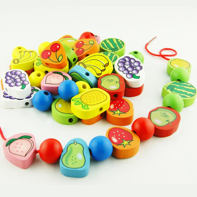 兒童木製串珠2~3~4歲寶寶男女孩diy早教益智玩具穿線珠子繞珠積木