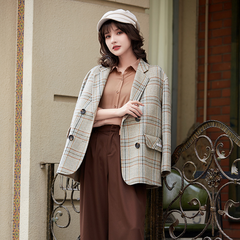Plaid Blazer womens 2020 spring and autumn new double faced cloth retro foreign style short loose coat wool top