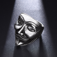 Titanium Steel V-shaped Vengeance Team Mask Ring Men Retro Personality Trend Men Index Ring Student Hip-hop Punk Ring