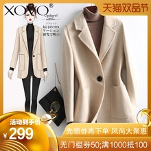 New anti-season cashmere Kiwi Plaid double-sided tweed overcoat for women
