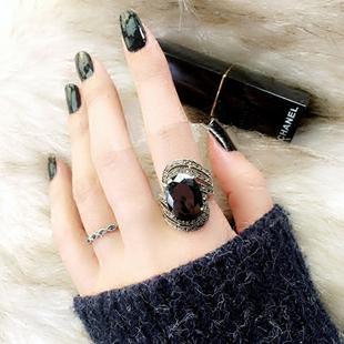 韓版氣質復古黑寶石女輕奢個性指環