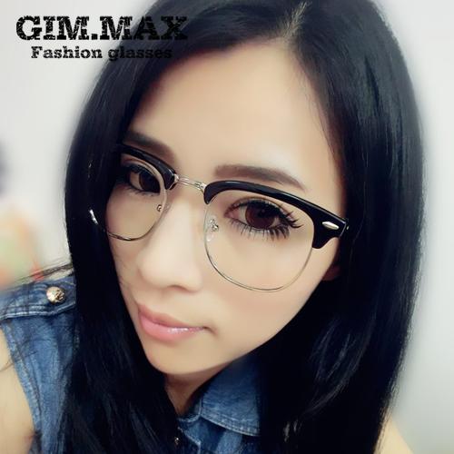 e4eaa13fa351 GIMMAX retro black-rimmed glasses frame male star models semi-rimless  glasses frame female