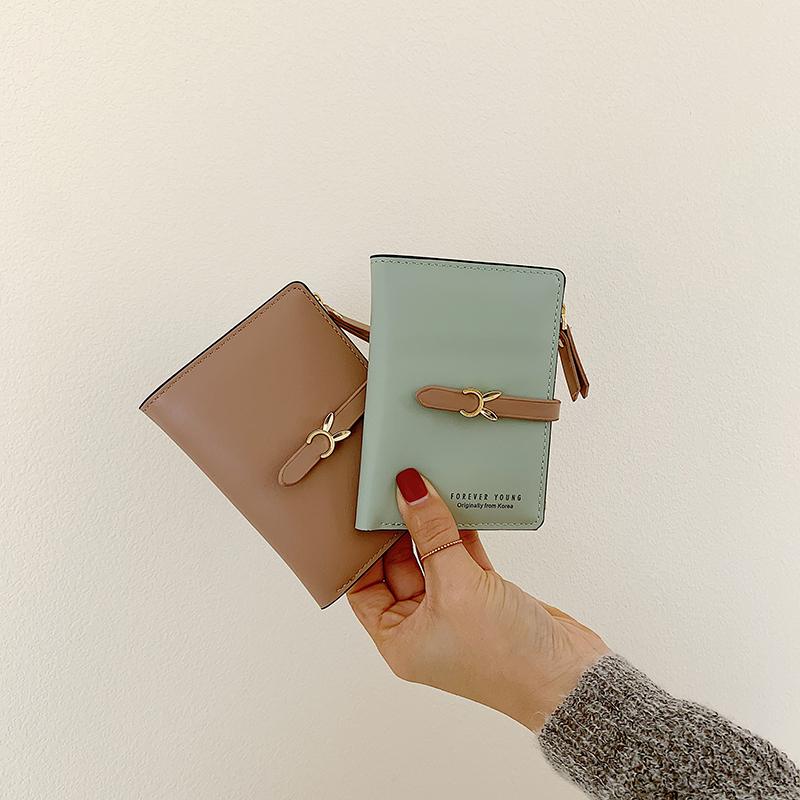 Ins Korean short small wallet female student small fresh ultra-thin folding buckle change bag card bag retro Wallet