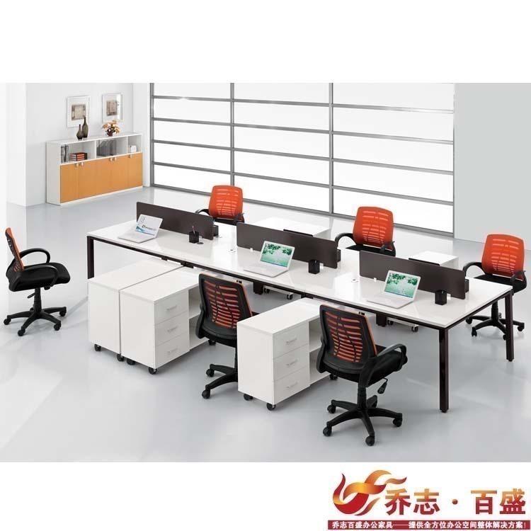 【乔志百盛】板式屏风办公桌电脑台办公室家具带柜子 QZ-W-62-01B