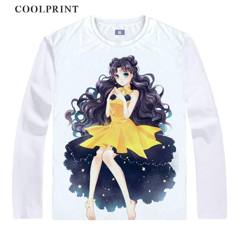 Beautiful girl warrior printed T-shirt moon hare Sailor Moon Yamei Zhenqin student lovely collarless long sleeve T-shirt white