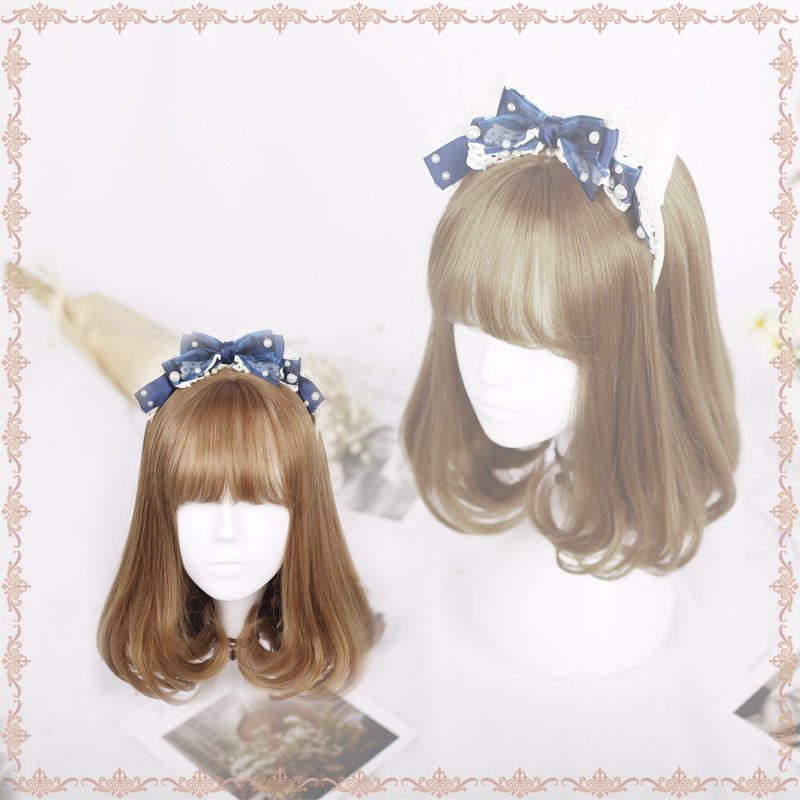 Wig female short hair round face lovely Lolita daily wig net red trim face pear flower roll full head set