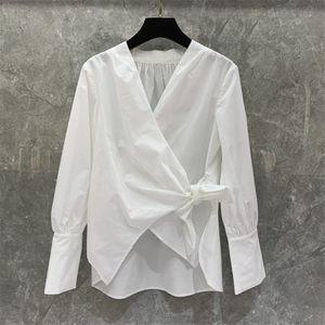 精品 系带宽松短款衬衫上衣女装早春装欧美2020新款性感衬衣1I