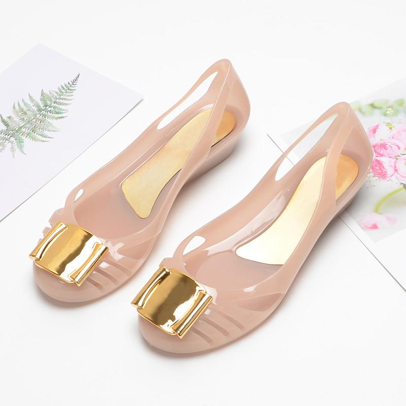 (用40元券)塑料果冻鞋女凉鞋2019新款包头平底沙滩鞋软面夏季裸色防水雨鞋