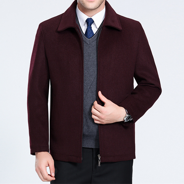 Middle aged mens wool jacket in spring and autumn fathers clothing middle aged and old mens thickened short cashmere coat in autumn and winter
