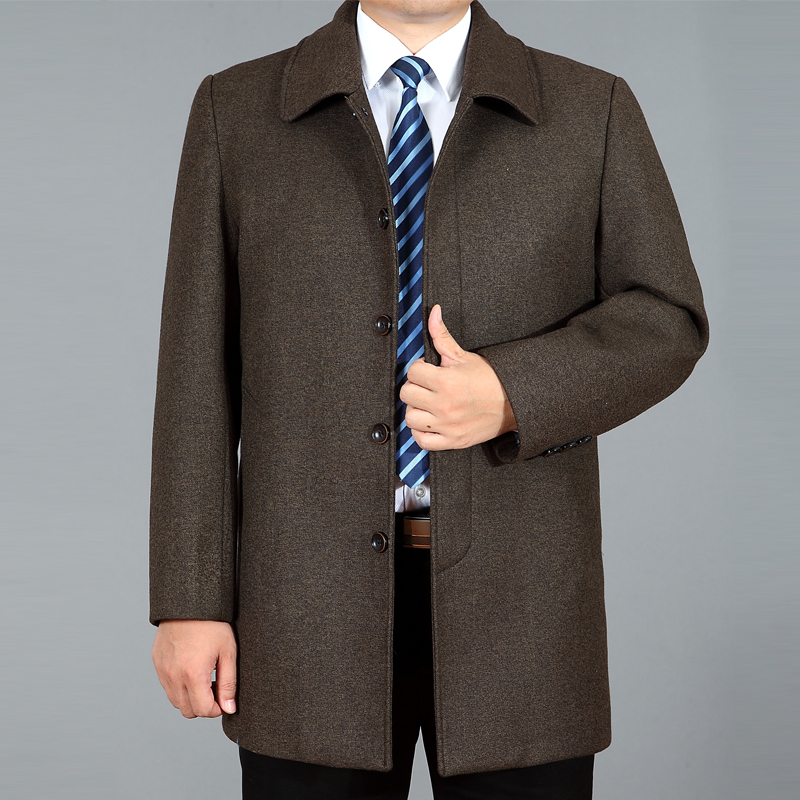 Fathers coat for middle-aged and old mens winter jacket loose large wool coat for mens spring and autumn middle-aged coat