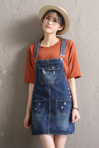 Denim overalls girls 2017 new summer skirt strap a Korean version of the Joker bust skirt loose thin spring