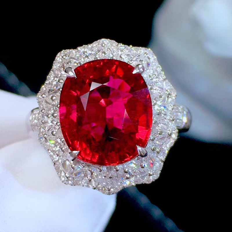 Meijing natural red tourmaline rupee ring ring with 18K gold inlaid red tourmaline rupee ring