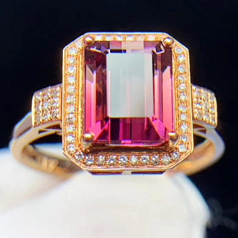 Meijing natural two-color red Tourmaline Ring 18K gold inlaid with Pink Tourmaline Ring