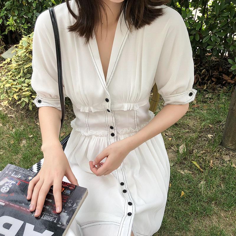 10-19新券小个子v领女2019夏装新款显瘦短裙