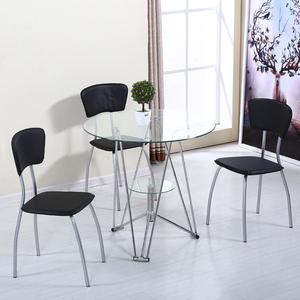 玻璃桌子圆钢化玻璃茶几休闲小桌子圆形洽谈桌<span class=H>餐桌</span>椅组合简约现代