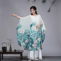 茶逸园禅意国风大咖连衣裙大码女装中式复古印花雪纺宽松大摆裙子