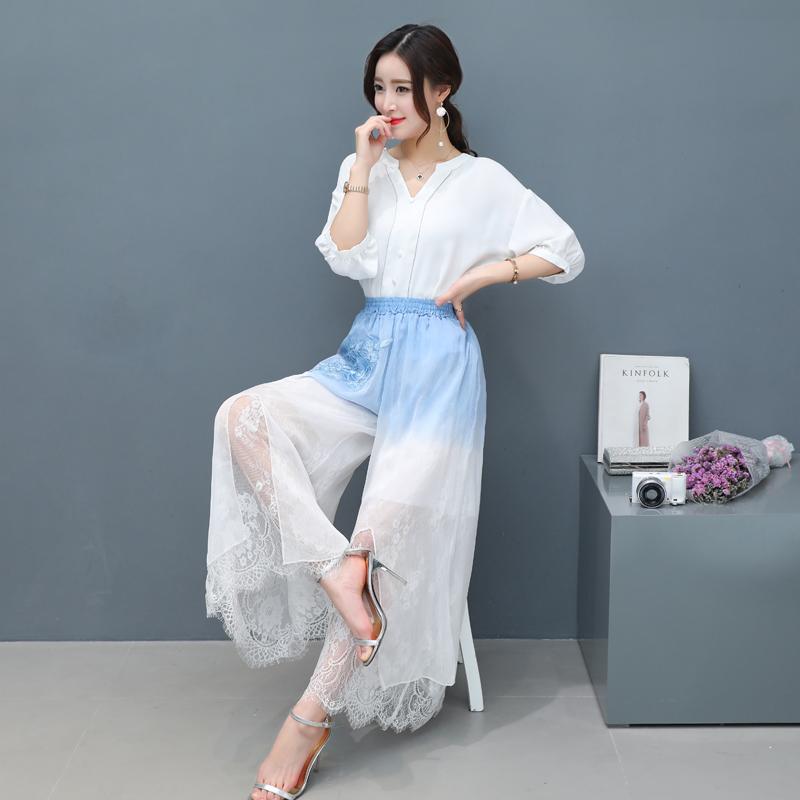 2018原创设计女装中国风长裤复古民族风裤子蓝白渐变裙裤夏