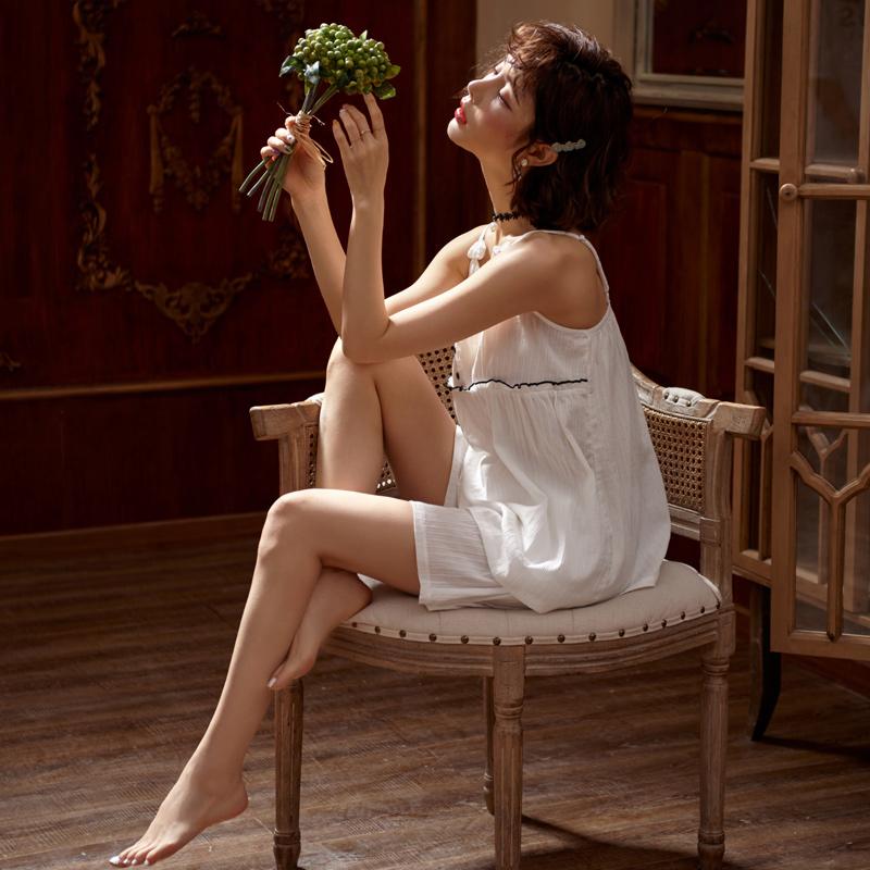 白色吊带睡衣两件套女夏季薄款梭织纯棉小性感仙女风学生ins套装