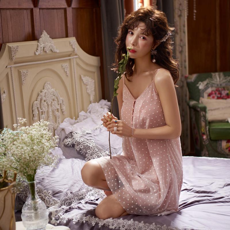 吊带睡裙夏季性感蕾丝网纱连衣裙子满170.00元可用42元优惠券