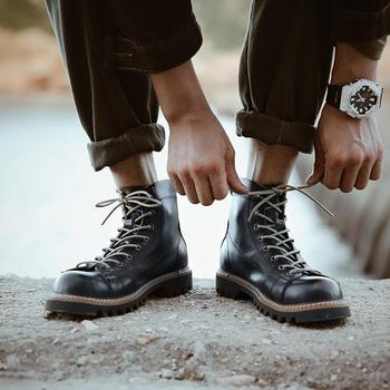 冬季马丁靴男加绒保暖工装靴子短脸阿美咔叽英伦风中高帮真皮皮鞋
