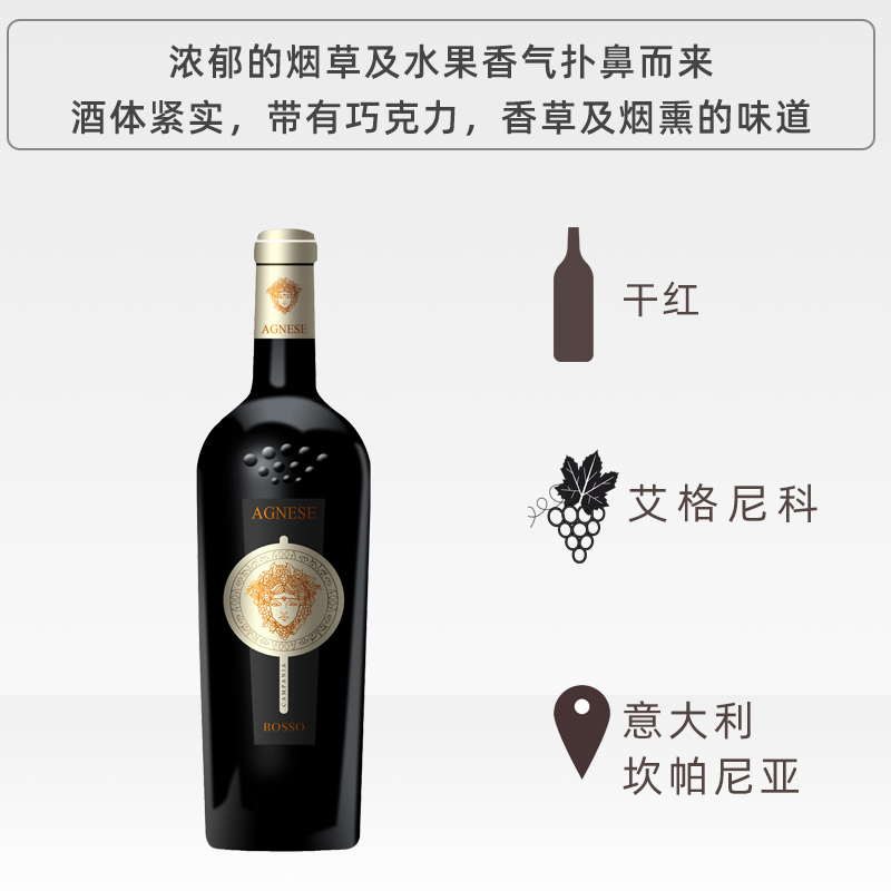 Italy aglianico agnico dry red wine 14.5% aroma rich and hierarchical!