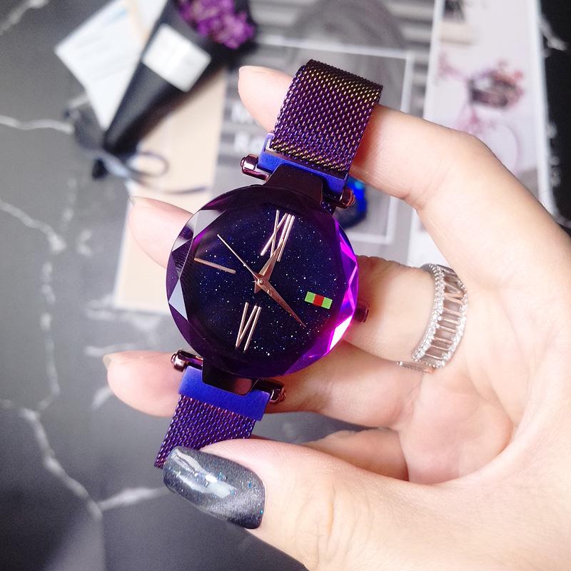 女士手表防水时尚款女生2018新款抖音同款吸铁网红星空手表潮流