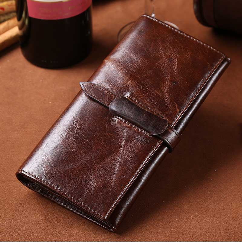 Oil wax leather mens Leather Handmade wallet leisure retro Long Wallet multi Card Wallet head leather large ticket