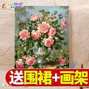 饰油彩画 diy数字油画水彩涂色填充减压挂画手工填色画手绘客厅装