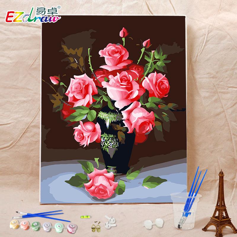Легко выдающийся цифровой живопись diy ручная роспись гостиная пейзаж любители 4050 цветы Я любовь