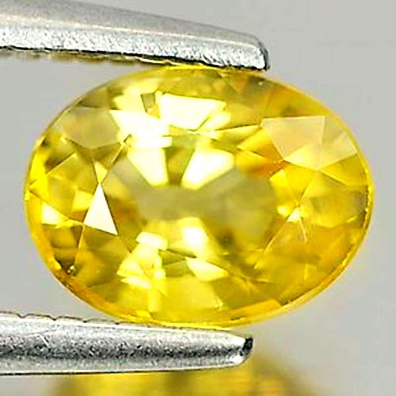 Bright gold yellow natural sapphire naked stone 1.03 carat mens and womens ring face oval package mail video display