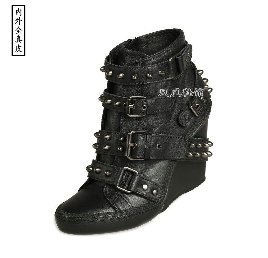 European station black cowhide high top single shoes high slope heel sports comfortable size hand made leather riveted womens shoes