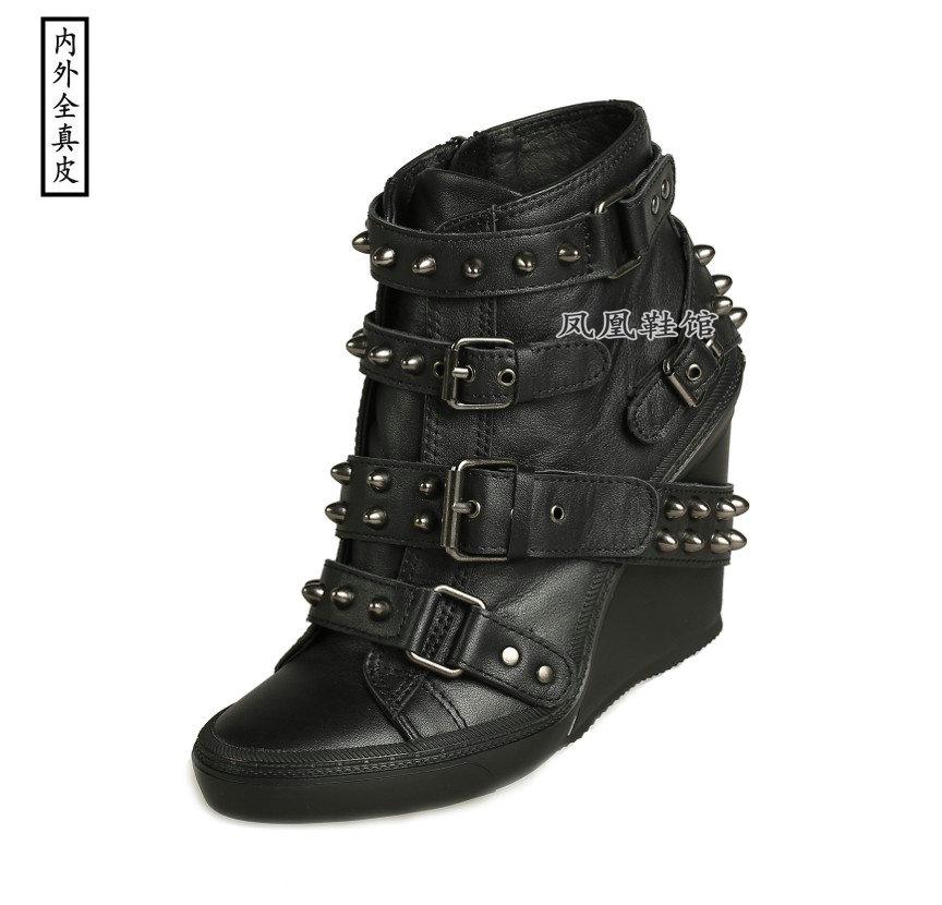 欧洲站黑色牛皮高帮单鞋高坡跟运动型舒适大小码手工真皮铆钉女鞋