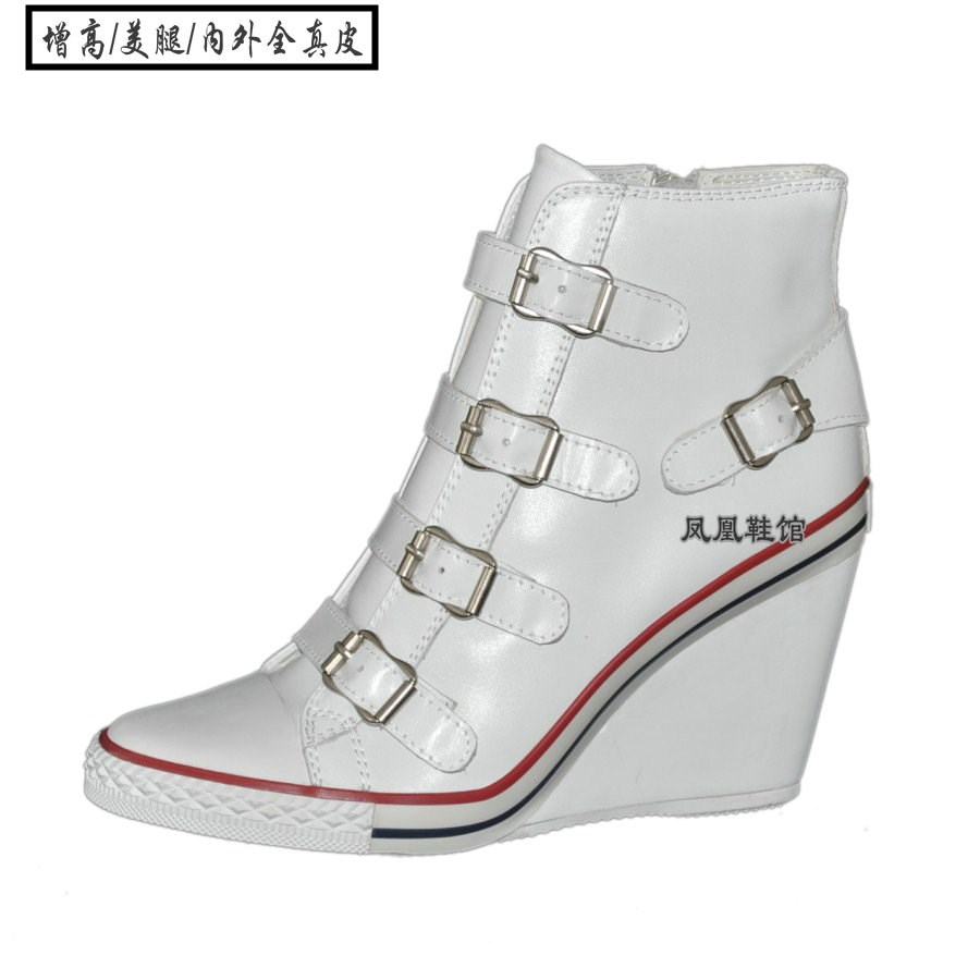 Korean version leather four button high slope high top single shoes white leather casual sports pure hand made large and small womens shoes