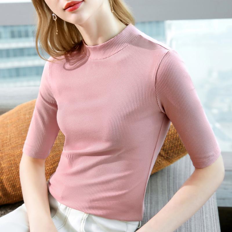 半高领打底衫五分袖t恤内搭2021年春新款女士中袖莫代尔条纹体桖