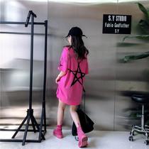 韩国2019下衣下半身失踪t恤女中长款短袖上衣裙大码体恤学生夏装