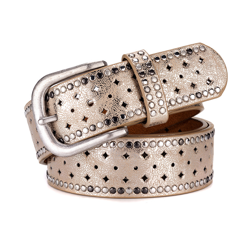 New womens belt, Rhinestone rivet inlaid alloy pin buckle belt, fashion leisure with jeans and belt trend