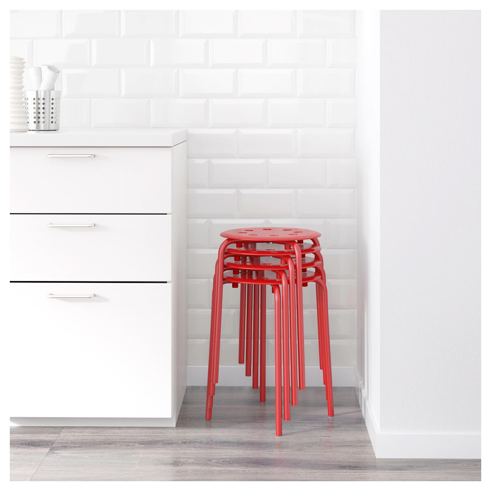 宜家MARIUS玛留斯圆凳椅子餐桌凳塑料加厚凳子家用客厅凳现代简约