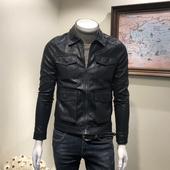 皮外套 秋冬新款 皮夹克 翻领多口袋皮衣青年男式 修身 韩版 潮流男士