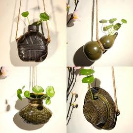 陶瓷悬挂花瓶水培植物小花插创意麻绳壁挂花器吊瓶墙饰家居饰品图片