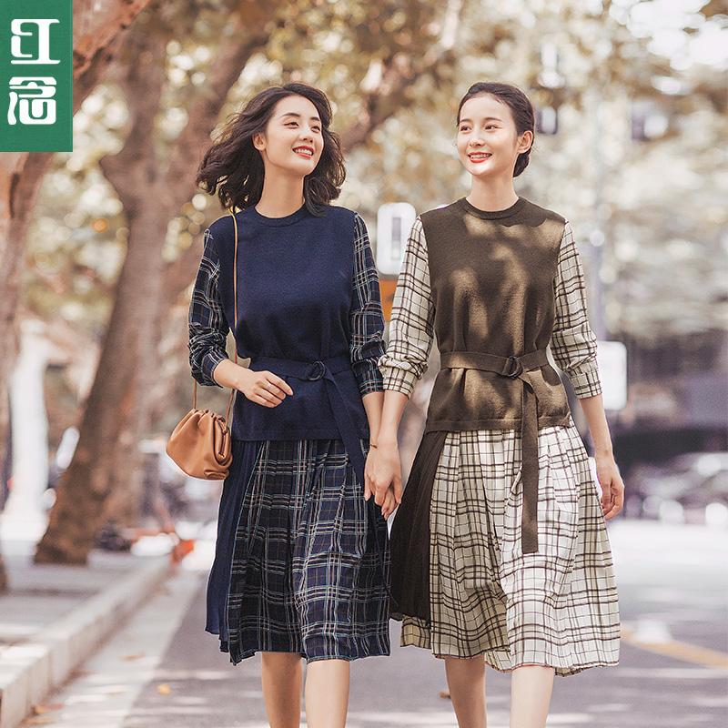 秋冬季2019新款收腰显瘦气质连衣裙热销190件五折促销