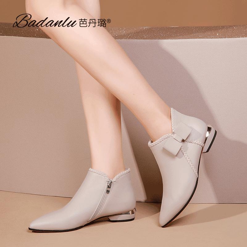 平底小短靴女2020秋冬新款尖头女靴子粗跟短筒裸靴百搭真皮瘦瘦靴