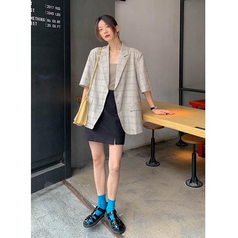 张与枝 复古格纹短袖西装外套女2021夏季新款直筒通勤休闲西服