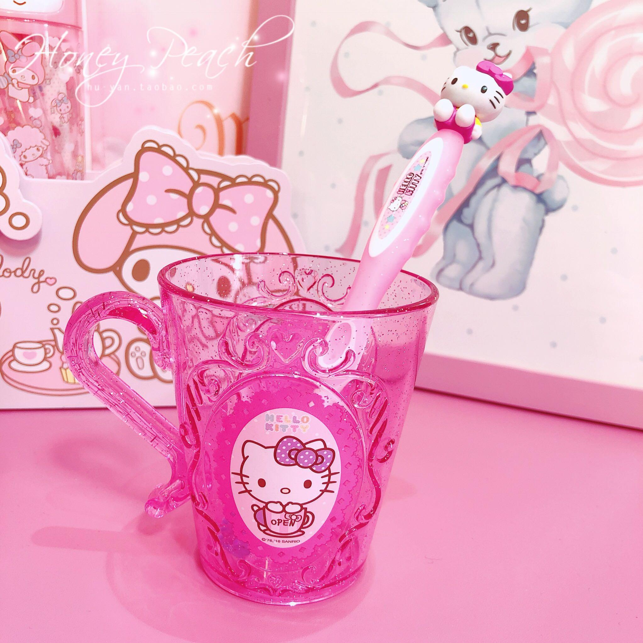 韩国正品Hello Kitty凯蒂猫立体头像儿童牙刷6-12岁水晶漱口杯